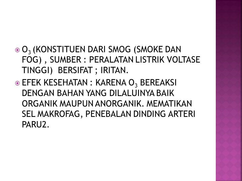 O 3 (KONSTITUEN DARI SMOG (SMOKE DAN FOG), SUMBER : PERALATAN LISTRIK VOLTASE TINGGI) BERSIFAT ; IRITAN.