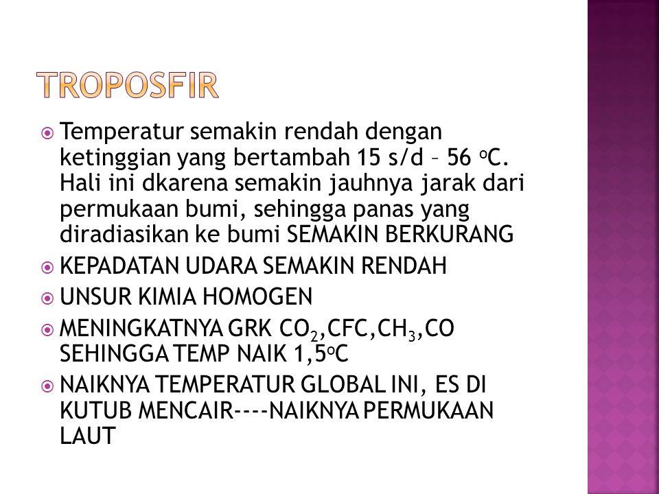  Temperatur semakin rendah dengan ketinggian yang bertambah 15 s/d – 56 o C. Hali ini dkarena semakin jauhnya jarak dari permukaan bumi, sehingga pan