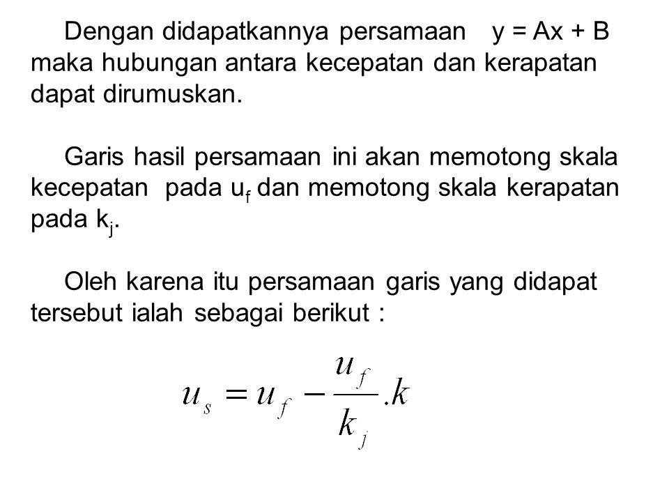 Dengan didapatkannya persamaan y = Ax + B maka hubungan antara kecepatan dan kerapatan dapat dirumuskan. Garis hasil persamaan ini akan memotong skala
