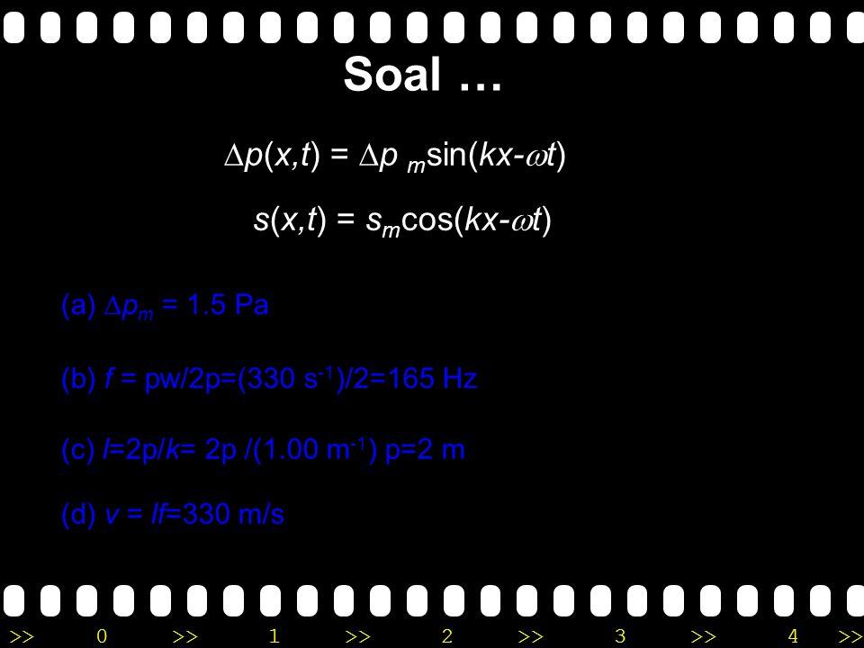 >>0 >>1 >> 2 >> 3 >> 4 >> Tekanan dalam gelombang bunyi diberikan oleh persamaan ∆p = (1.5 Pa) sin p[(1.00 m -1 )x - (330 s -1 )t]. Tentukan (a) ampli