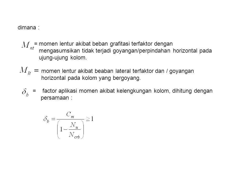 momen lentur akibat beaban lateral terfaktor dan / goyangan horizontal pada kolom yang bergoyang. = factor aplikasi momen akibat kelengkungan kolom, d