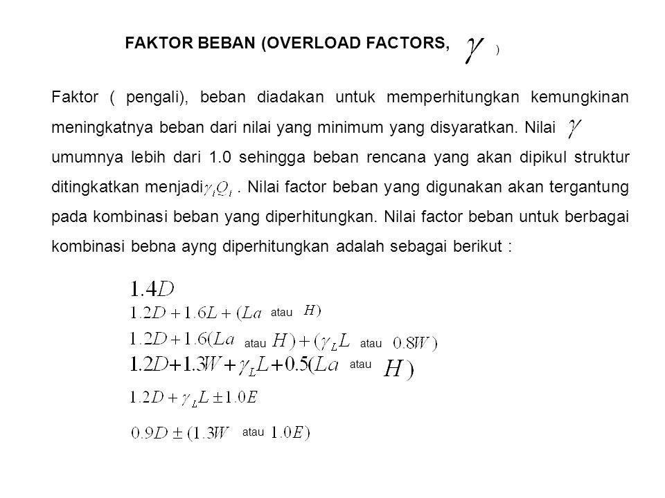 FAKTOR BEBAN (OVERLOAD FACTORS, ) Faktor ( pengali), beban diadakan untuk memperhitungkan kemungkinan meningkatnya beban dari nilai yang minimum yang