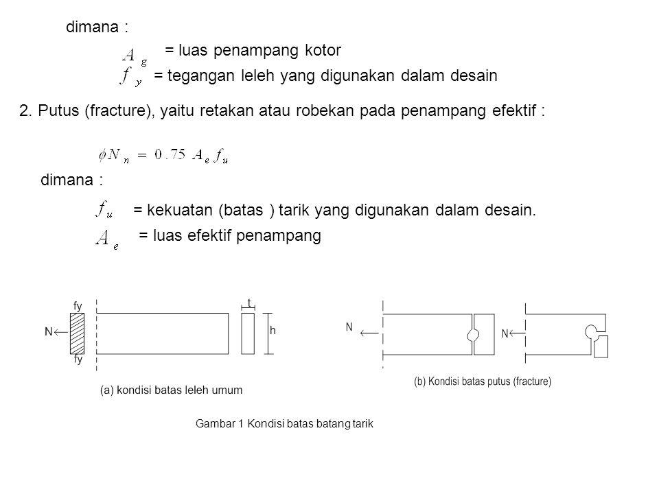 dimana : = luas penampang kotor = tegangan leleh yang digunakan dalam desain 2. Putus (fracture), yaitu retakan atau robekan pada penampang efektif :