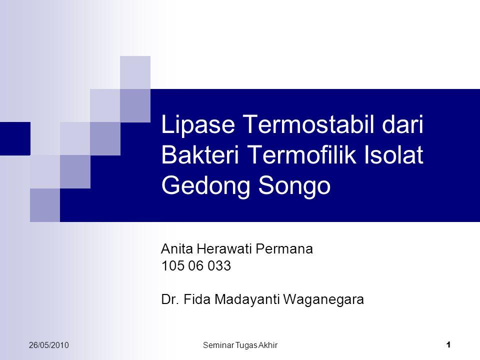 26/05/2010Seminar Tugas Akhir 1 Lipase Termostabil dari Bakteri Termofilik Isolat Gedong Songo Anita Herawati Permana 105 06 033 Dr. Fida Madayanti Wa