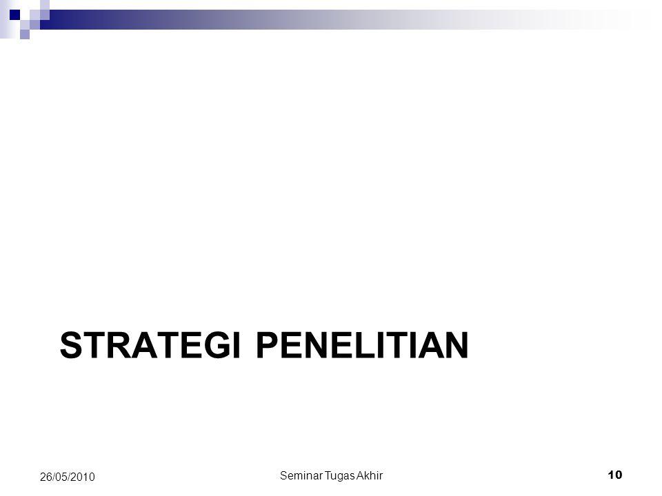 STRATEGI PENELITIAN Seminar Tugas Akhir 10 26/05/2010