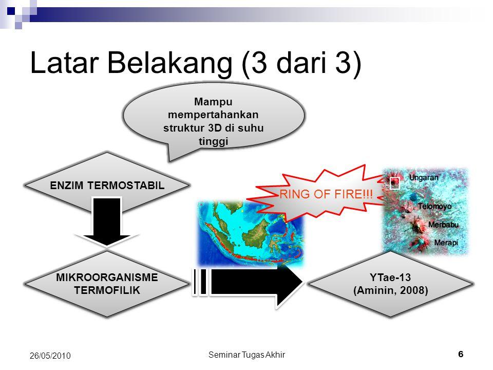 Seminar Tugas Akhir 6 26/05/2010 Latar Belakang (3 dari 3) ENZIM TERMOSTABIL MIKROORGANISME TERMOFILIK MIKROORGANISME TERMOFILIK Mampu mempertahankan struktur 3D di suhu tinggi RING OF FIRE!!.