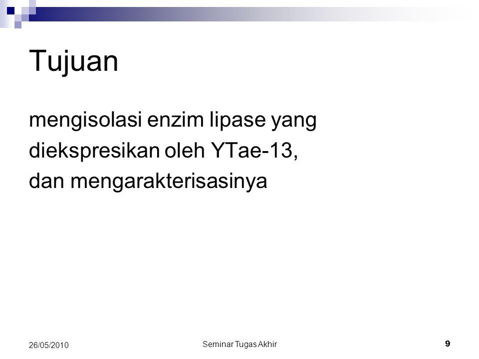 Seminar Tugas Akhir 9 26/05/2010 Tujuan mengisolasi enzim lipase yang diekspresikan oleh YTae-13, dan mengarakterisasinya