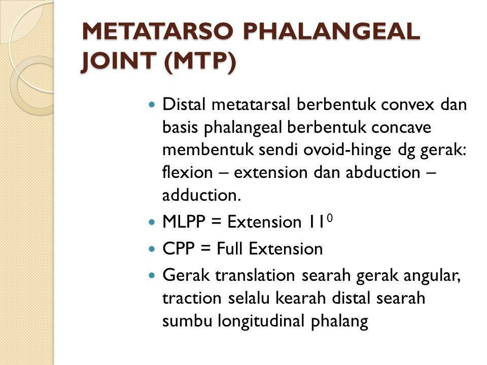 METATARSO PHALANGEAL JOINT (MTP) Distal metatarsal berbentuk convex dan basis phalangeal berbentuk concave membentuk sendi ovoid-hinge dg gerak: flexi