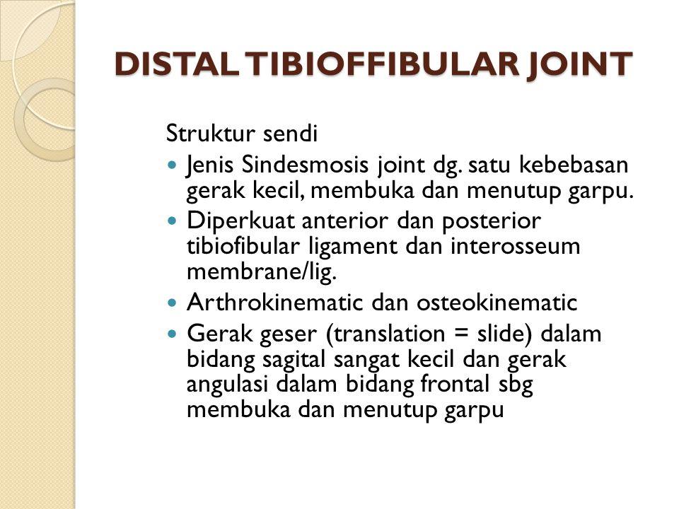 DISTAL TIBIOFFIBULAR JOINT Struktur sendi Jenis Sindesmosis joint dg. satu kebebasan gerak kecil, membuka dan menutup garpu. Diperkuat anterior dan po