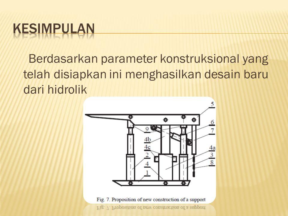 Berdasarkan parameter konstruksional yang telah disiapkan ini menghasilkan desain baru dari hidrolik