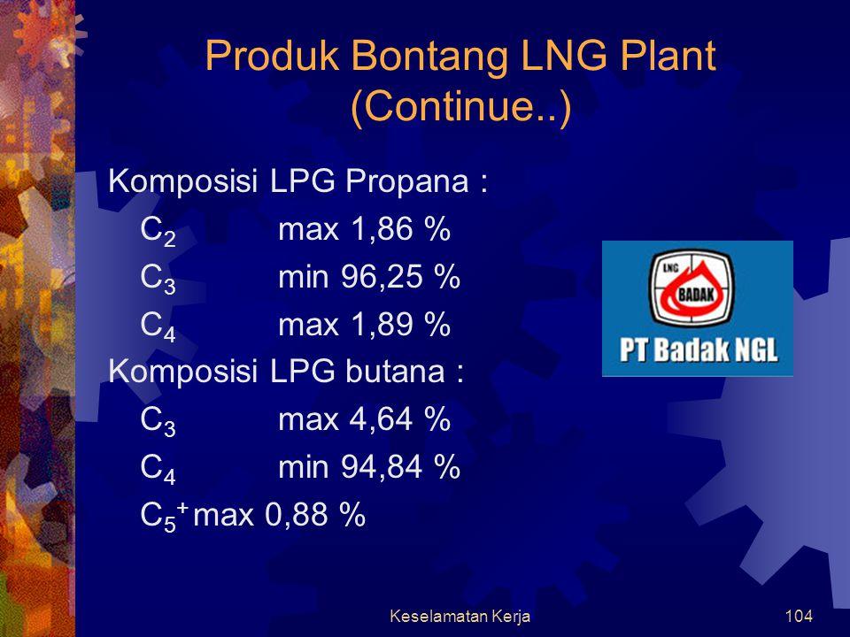 Keselamatan Kerja103 Produk Bontang LNG Plant Komposisi LNG : C 1 min 85 % N 2 max 1 % C 4 max 2 % C 5 + max 0,1 % H 2 Smax 0,025 ppbw / 100 ScF Sulfurmax 1,3 gr / 100 ScF Densitasmin 453 kg / m 3