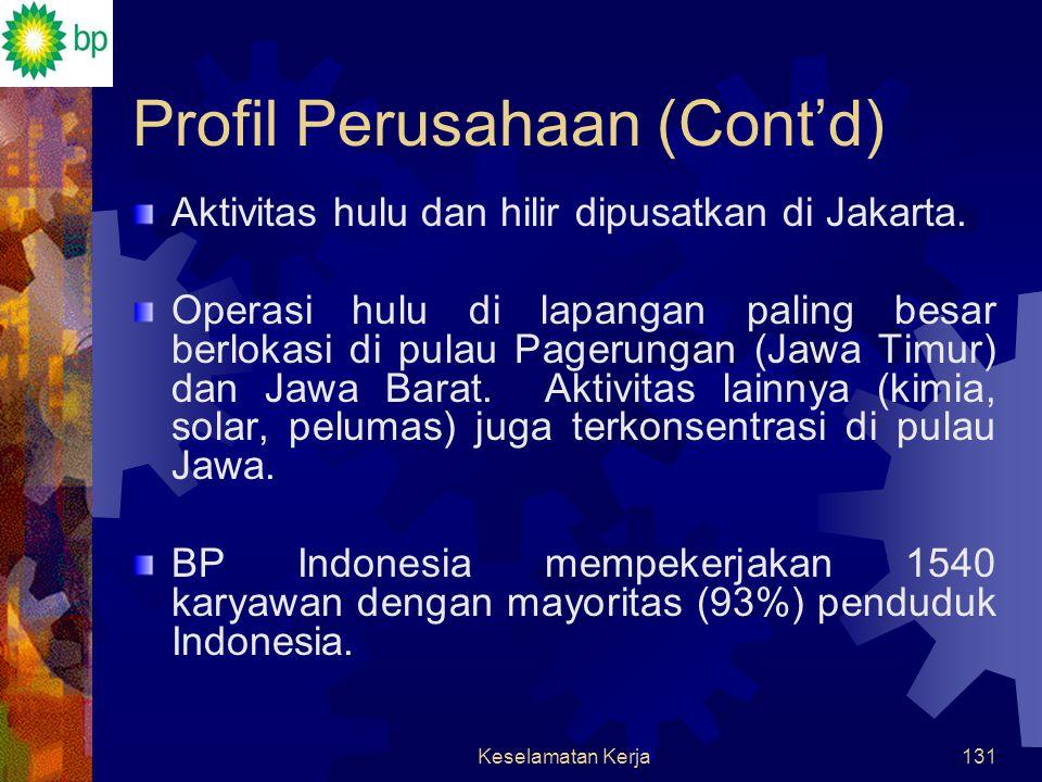 Keselamatan Kerja130 Profil Perusahaan (Cont'd) Grup BP beroperasi di Indonesia, sejak tahun 1971. Hulu  eksplorasi & produksi, bahan kimia, gas, ene
