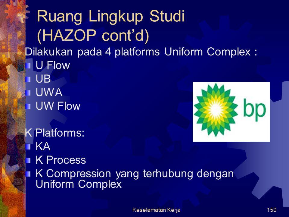 Keselamatan Kerja149 HAZOP Tujuan dilakukan HAZOP :  Identifikasi keselamatan, bahaya & masalah operasi yang berhubungan dengan proses yang secara la