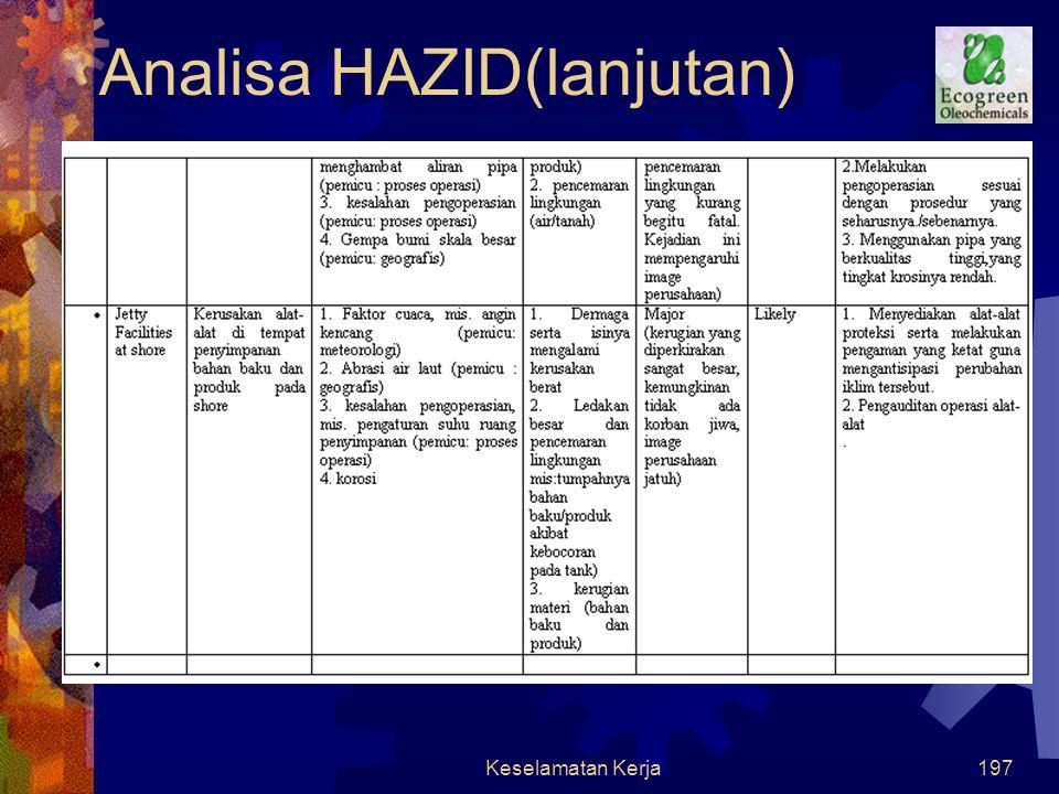 Keselamatan Kerja196 Analisa HAZID (lanjutan)