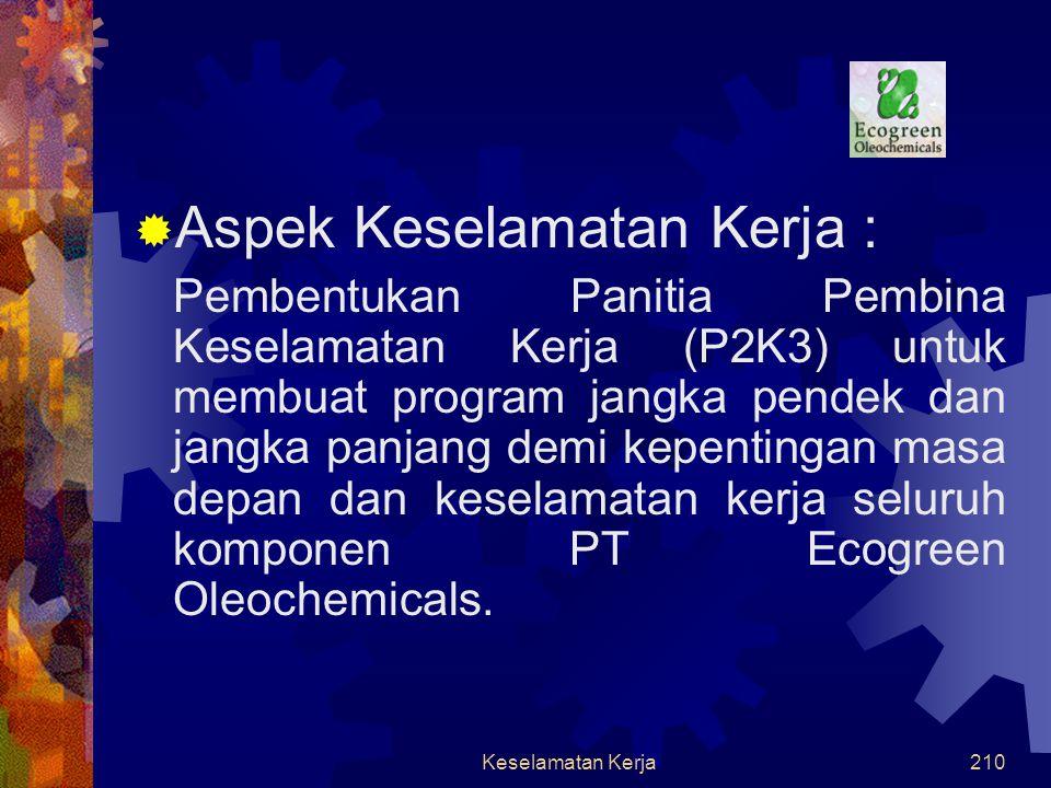 Keselamatan Kerja209  Aspek Kesehatan  Bahan baku (minyak kelapa & kelapa sawit) : tidak berbahaya  Produk (fatty alkohol) : tidak berbahaya Aspek Kesehatan, Keselamatan Kerja dan Lingkungan