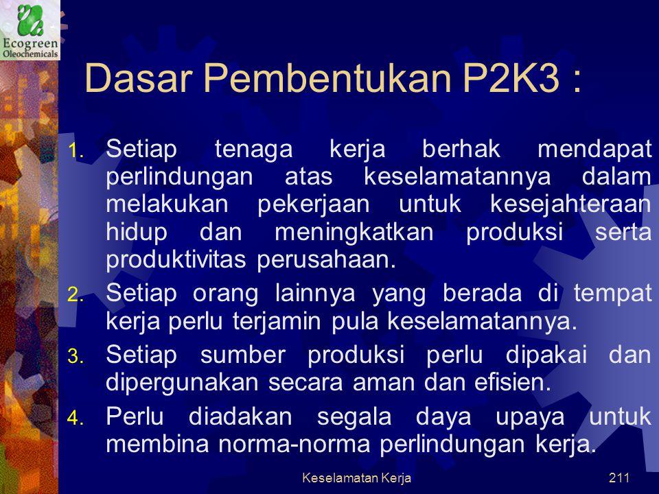 Keselamatan Kerja210  Aspek Keselamatan Kerja : Pembentukan Panitia Pembina Keselamatan Kerja (P2K3) untuk membuat program jangka pendek dan jangka p