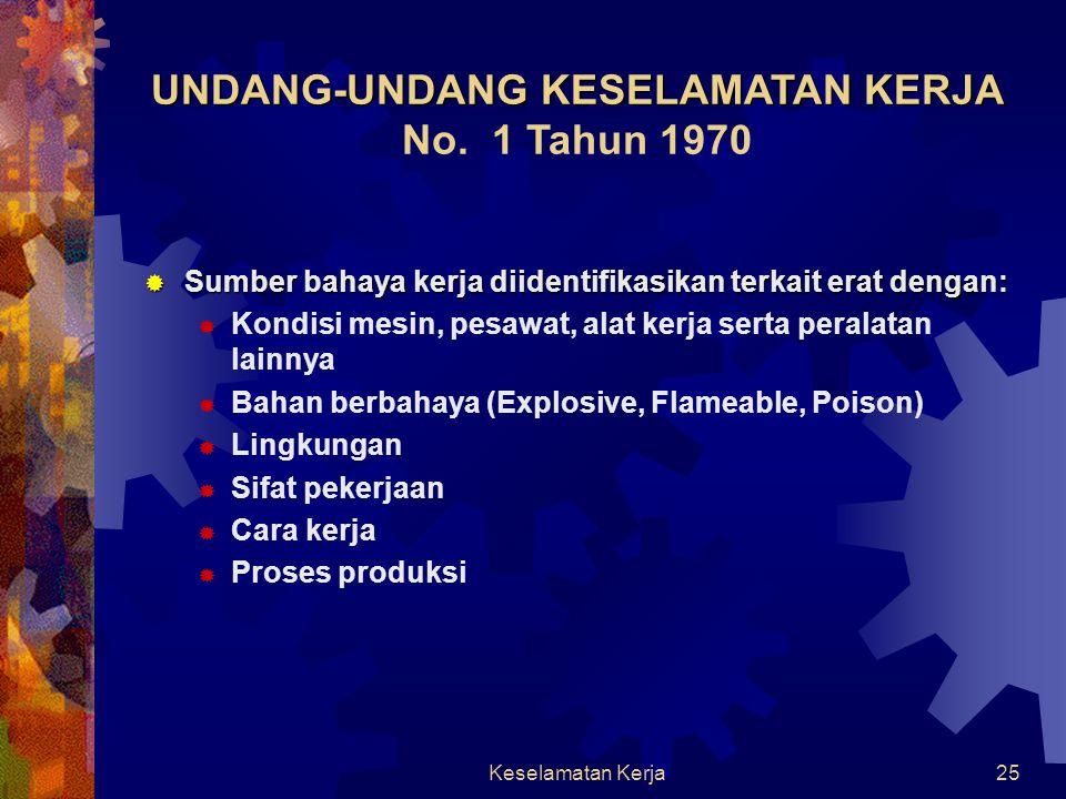 Keselamatan Kerja24 UNDANG-UNDANG KESELAMATAN KERJA UNDANG-UNDANG KESELAMATAN KERJA No. 1 Tahun 1970  UNDANG-UNDANG KESELAMATAN KERJA mengatur kesela