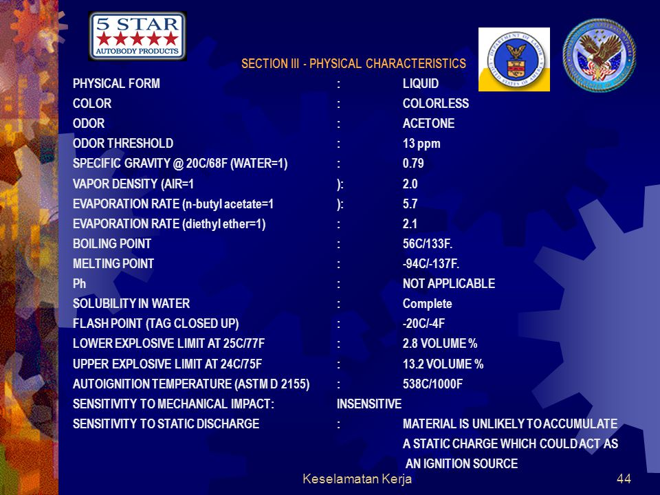 Keselamatan Kerja43 MATERIAL SAFETY DATA SHEET PRODUCT NAME(S): 5 STAR Acetone PRODUCT CODE: #5910 (GALLON) SECTION I - MANUFACTURER IDENTIFICATION MANUFACTURED FOR: 5-Star Autobody Products ADDRESS: 9419 E.