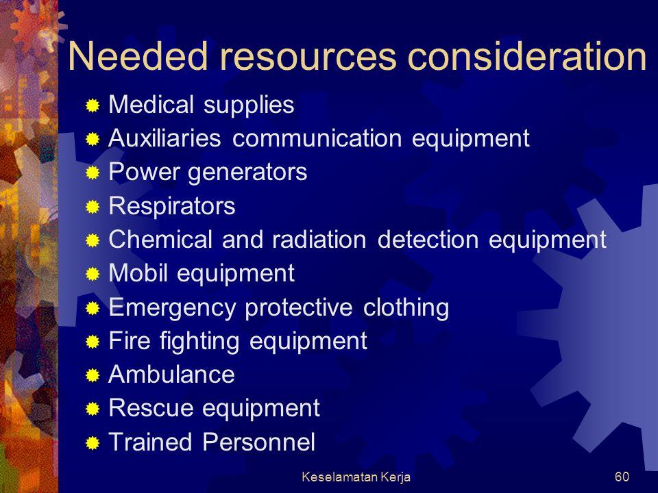 Keselamatan Kerja59 Required actions  Declare emergency  Sound the alert  Evacuate danger zone  Close main shutoffs  Call for exernal aid  Initi