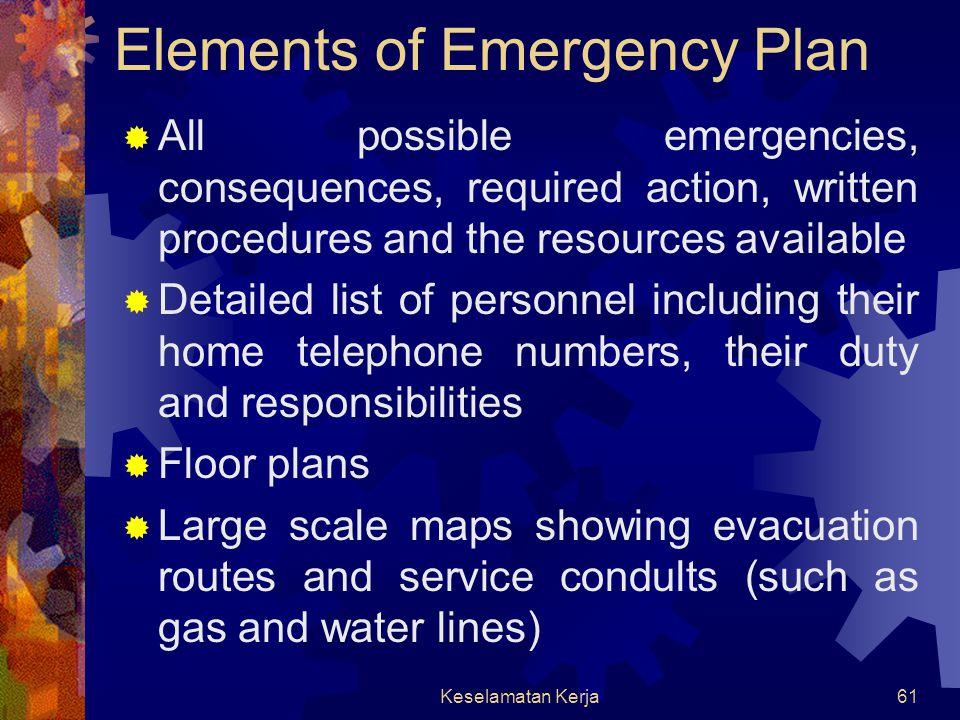 Keselamatan Kerja60 Needed resources consideration  Medical supplies  Auxiliaries communication equipment  Power generators  Respirators  Chemica