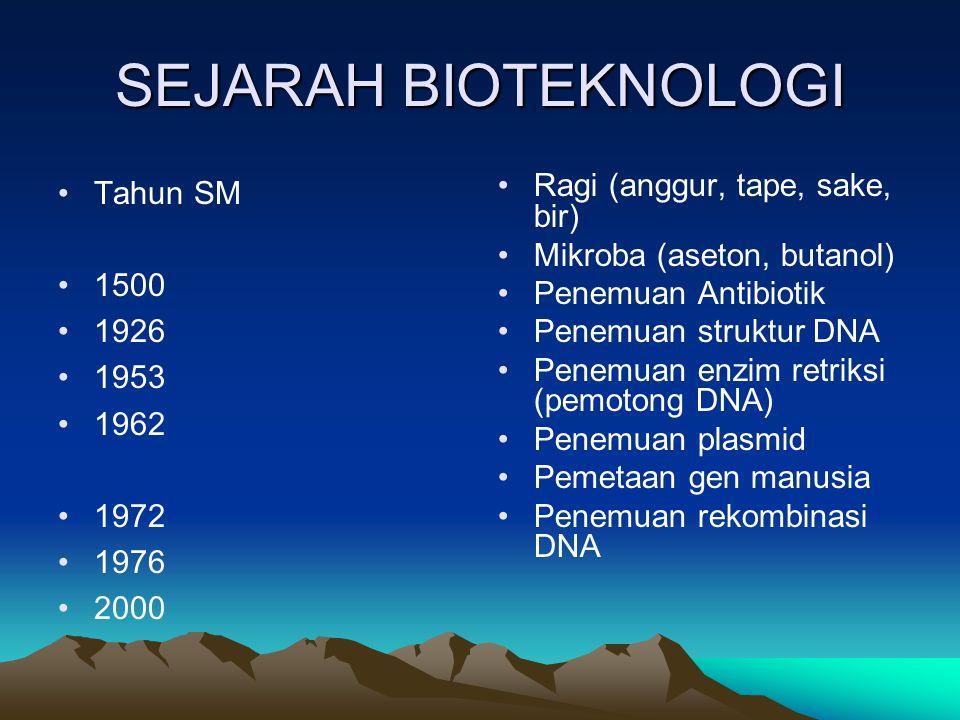 SEJARAH BIOTEKNOLOGI Tahun SM 1500 1926 1953 1962 1972 1976 2000 Ragi (anggur, tape, sake, bir) Mikroba (aseton, butanol) Penemuan Antibiotik Penemuan struktur DNA Penemuan enzim retriksi (pemotong DNA) Penemuan plasmid Pemetaan gen manusia Penemuan rekombinasi DNA