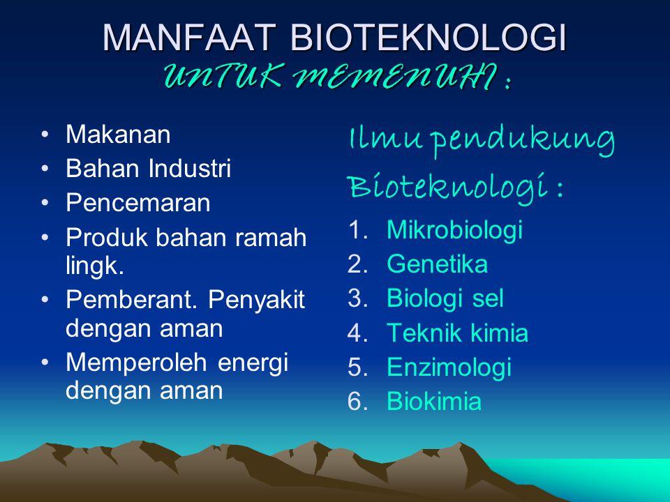 MANFAAT BIOTEKNOLOGI UNTUK MEMENUHI : Makanan Bahan Industri Pencemaran Produk bahan ramah lingk.