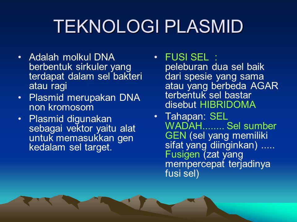 TEKNOLOGI PLASMID Adalah molkul DNA berbentuk sirkuler yang terdapat dalam sel bakteri atau ragi Plasmid merupakan DNA non kromosom Plasmid digunakan sebagai vektor yaitu alat untuk memasukkan gen kedalam sel target.