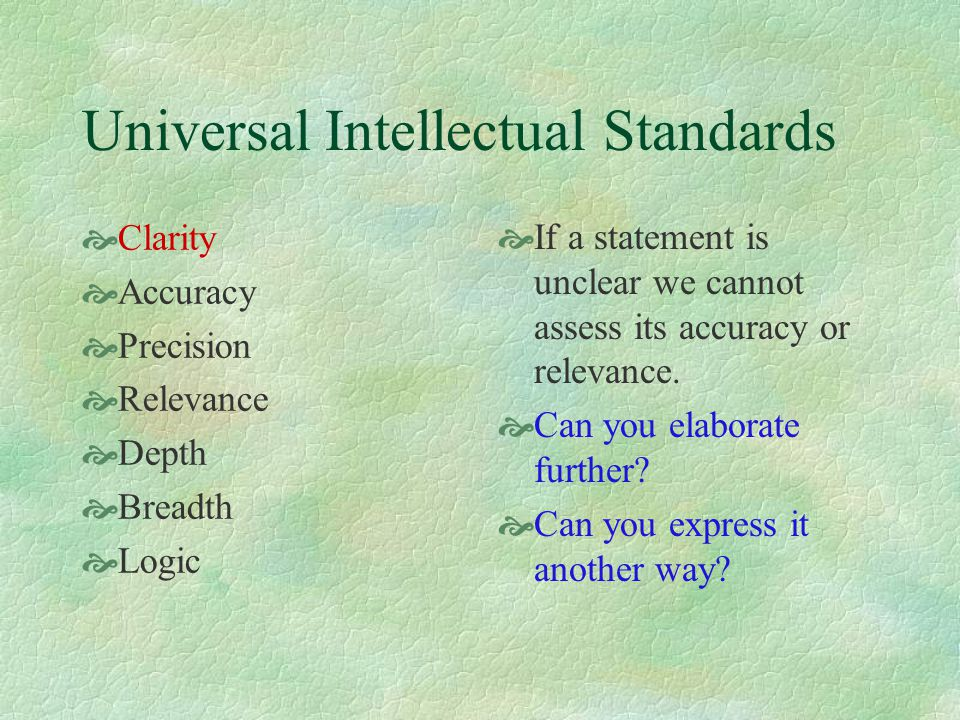 Universal Intellectual Standards  Clarity  Accuracy  Precision  Relevance  Depth  Breadth  Logic  What is wrong with this program.