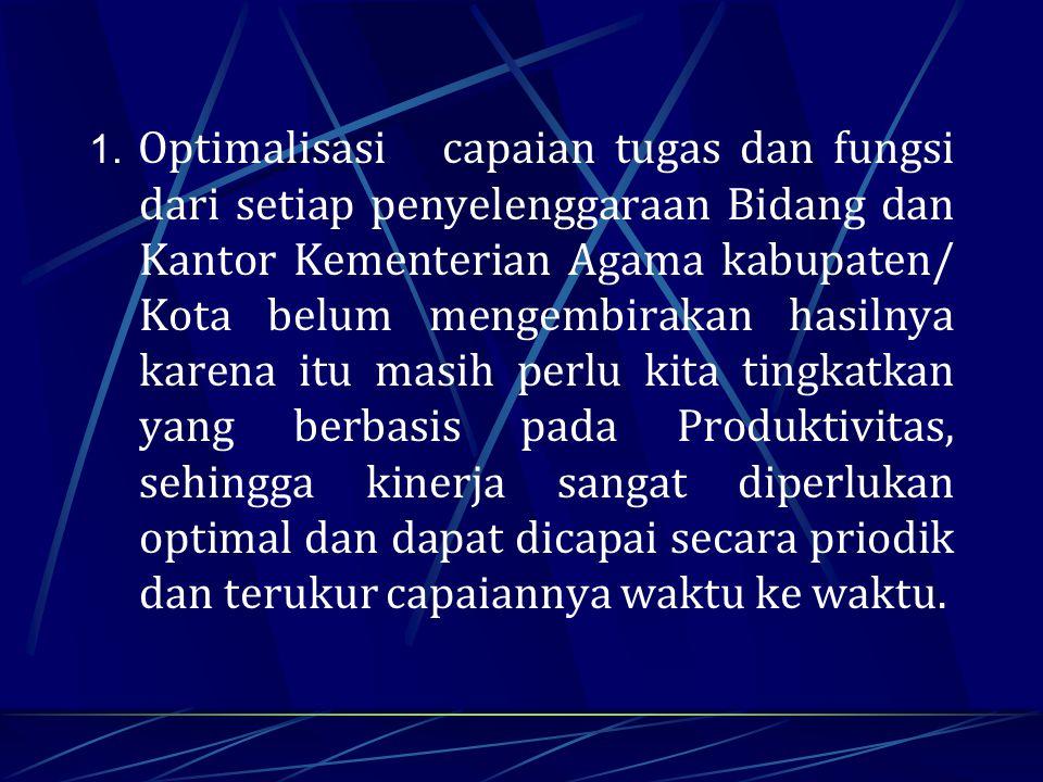 1. Optimalisasi capaian tugas dan fungsi dari setiap penyelenggaraan Bidang dan Kantor Kementerian Agama kabupaten/ Kota belum mengembirakan hasilnya