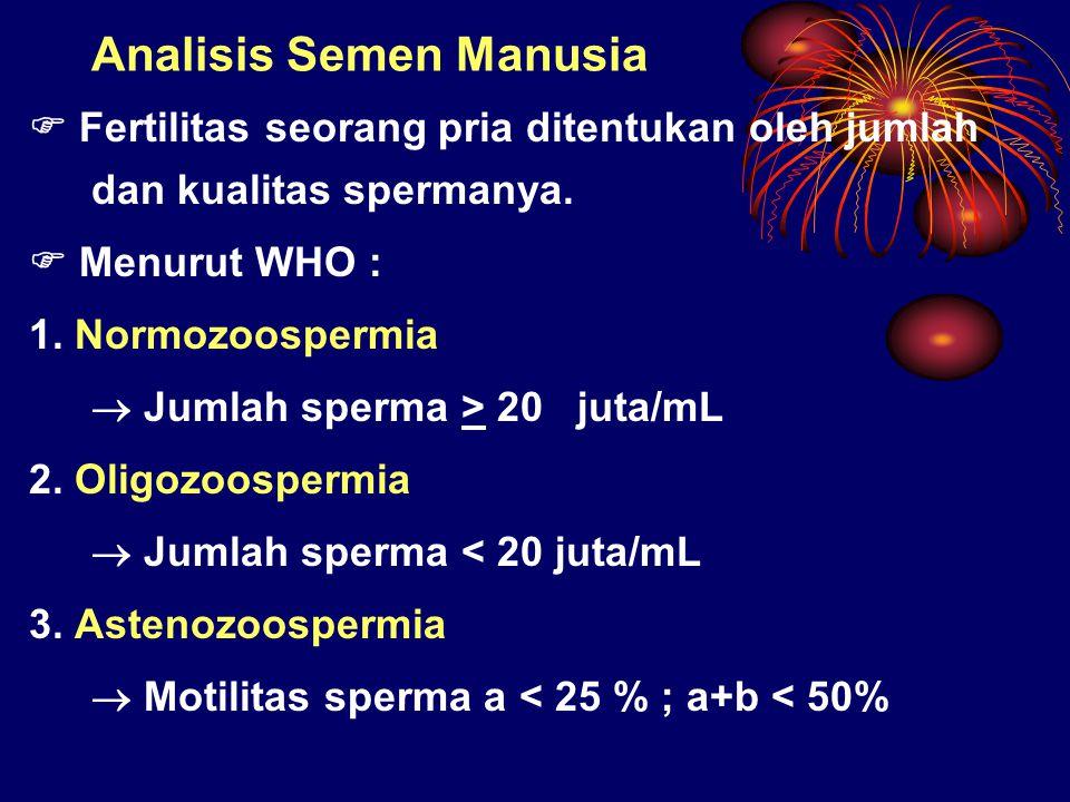 Analisis Semen Manusia  Fertilitas seorang pria ditentukan oleh jumlah dan kualitas spermanya.  Menurut WHO : 1. Normozoospermia  Jumlah sperma > 2