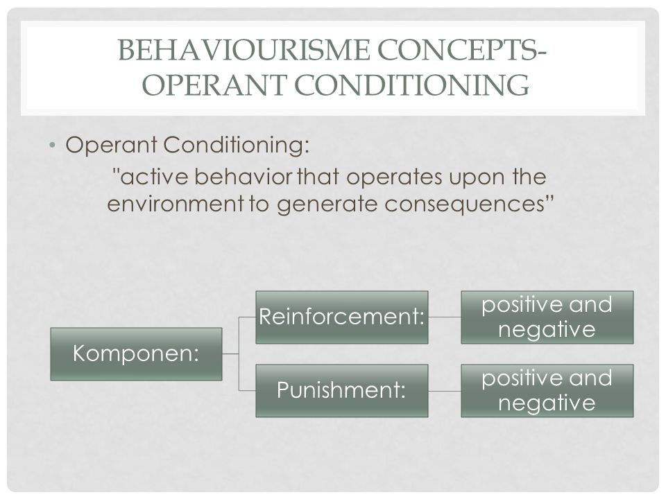 BEHAVIOURISME CONCEPTS- OPERANT CONDITIONING Operant Conditioning: active behavior that operates upon the environment to generate consequences Komponen: Reinforcement: positive and negative Punishment: positive and negative