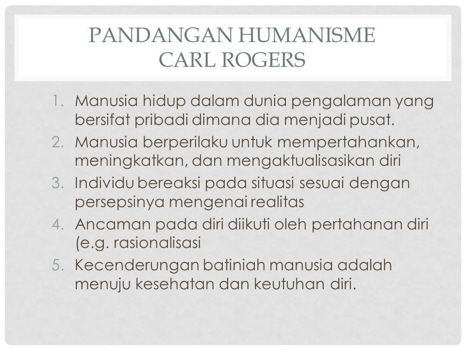 PANDANGAN HUMANISME CARL ROGERS 1.Manusia hidup dalam dunia pengalaman yang bersifat pribadi dimana dia menjadi pusat. 2.Manusia berperilaku untuk mem