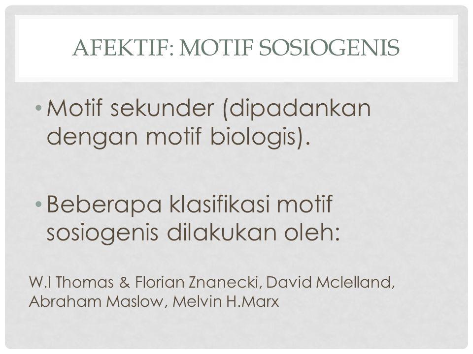 AFEKTIF: MOTIF SOSIOGENIS Motif sekunder (dipadankan dengan motif biologis). Beberapa klasifikasi motif sosiogenis dilakukan oleh: W.I Thomas & Floria