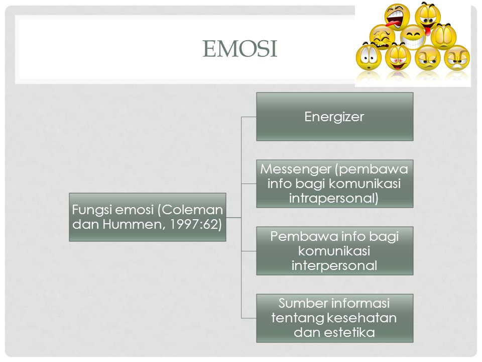 EMOSI Fungsi emosi (Coleman dan Hummen, 1997:62) Energizer Messenger (pembawa info bagi komunikasi intrapersonal) Pembawa info bagi komunikasi interpe