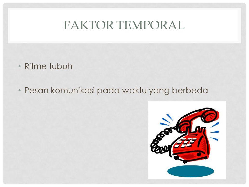 FAKTOR TEMPORAL Ritme tubuh Pesan komunikasi pada waktu yang berbeda