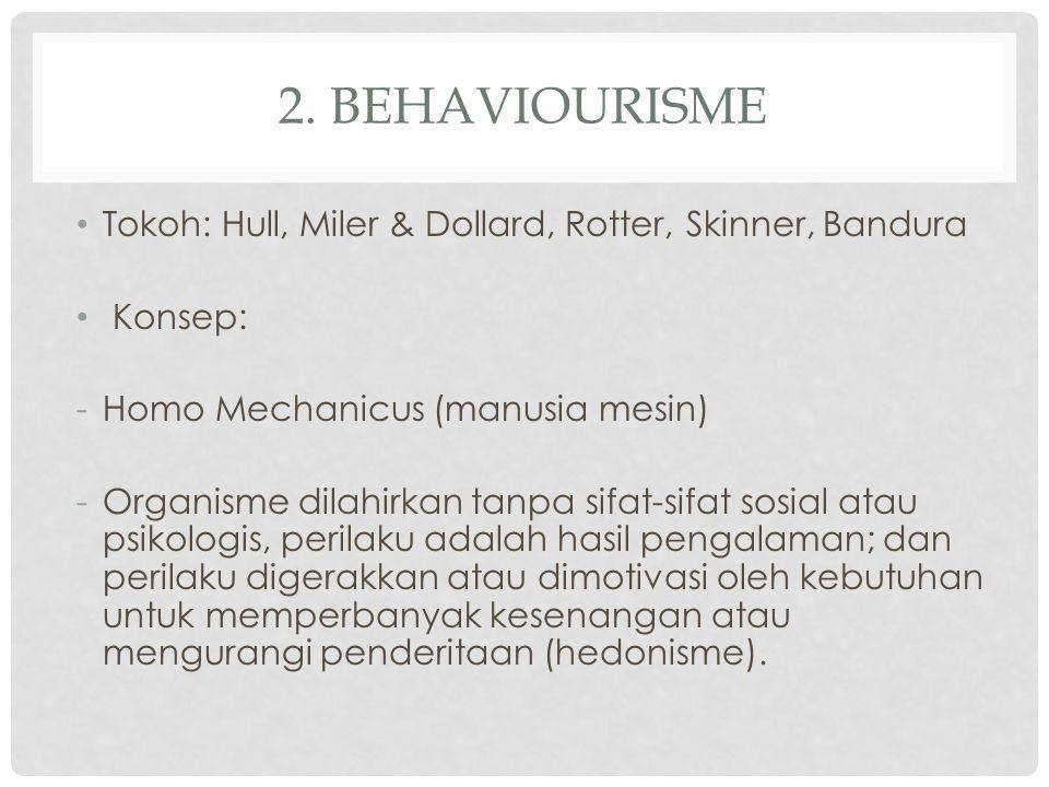 2. BEHAVIOURISME Tokoh: Hull, Miler & Dollard, Rotter, Skinner, Bandura Konsep: -Homo Mechanicus (manusia mesin) -Organisme dilahirkan tanpa sifat-sif