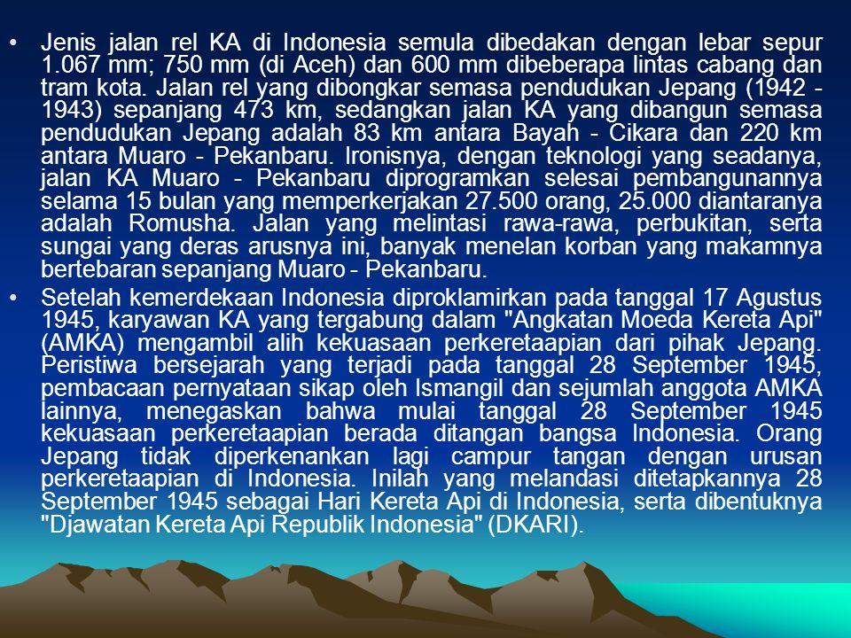 Jenis jalan rel KA di Indonesia semula dibedakan dengan lebar sepur 1.067 mm; 750 mm (di Aceh) dan 600 mm dibeberapa lintas cabang dan tram kota.