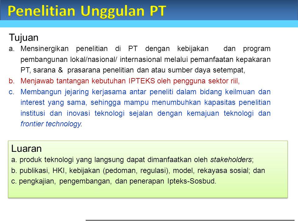 Tujuan a.Mensinergikan penelitian di PT dengan kebijakan dan program pembangunan lokal/nasional/ internasional melalui pemanfaatan kepakaran PT, saran