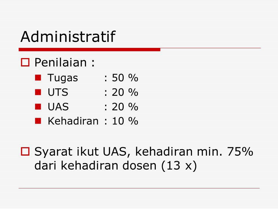 Administratif  Penilaian : Tugas: 50 % UTS: 20 % UAS: 20 % Kehadiran: 10 %  Syarat ikut UAS, kehadiran min. 75% dari kehadiran dosen (13 x)
