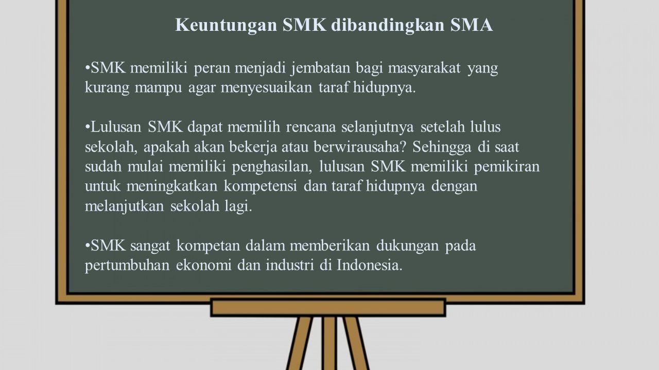 Keuntungan SMK dibandingkan SMA SMK memiliki peran menjadi jembatan bagi masyarakat yang kurang mampu agar menyesuaikan taraf hidupnya.