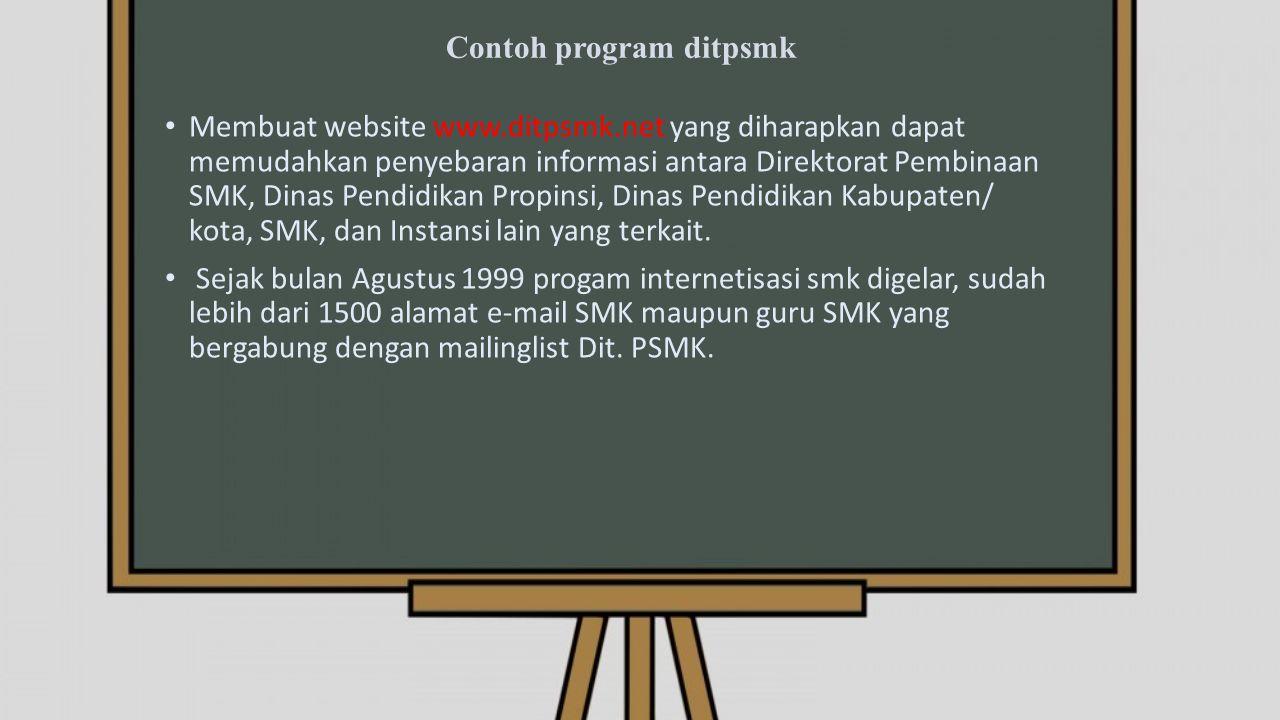 Contoh program ditpsmk Membuat website www.ditpsmk.net yang diharapkan dapat memudahkan penyebaran informasi antara Direktorat Pembinaan SMK, Dinas Pendidikan Propinsi, Dinas Pendidikan Kabupaten/ kota, SMK, dan Instansi lain yang terkait.