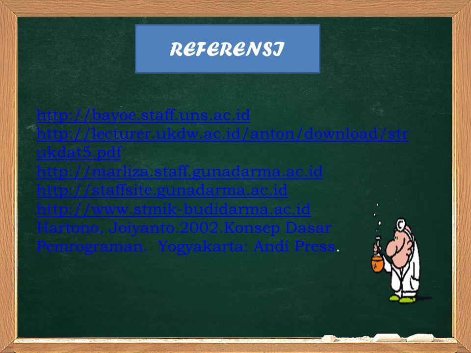 http://bayoe.staff.uns.ac.id http://lecturer.ukdw.ac.id/anton/download/str ukdat5.pdf http://marliza.staff.gunadarma.ac.id http://staffsite.gunadarma.ac.id http://www.stmik-budidarma.ac.id Hartono, Joiyanto.2002.Konsep Dasar Pemrograman.
