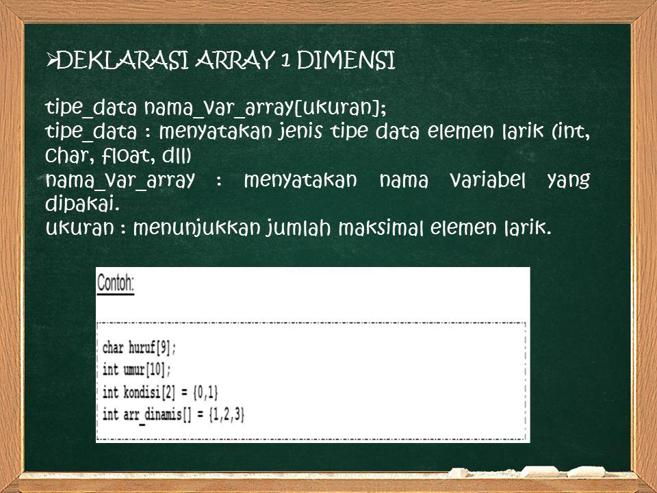 DEKLARASI ARRAY 1 DIMENSI tipe_data nama_var_array[ukuran]; tipe_data : menyatakan jenis tipe data elemen larik (int, char, float, dll) nama_var_array : menyatakan nama variabel yang dipakai.