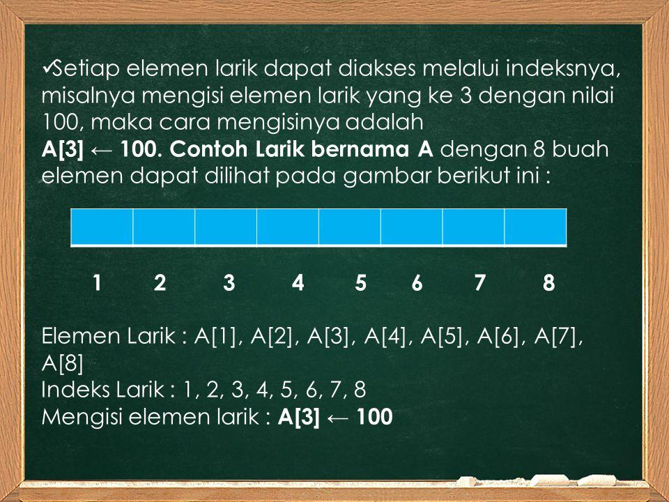 Setiap elemen larik dapat diakses melalui indeksnya, misalnya mengisi elemen larik yang ke 3 dengan nilai 100, maka cara mengisinya adalah A[3] ← 100.