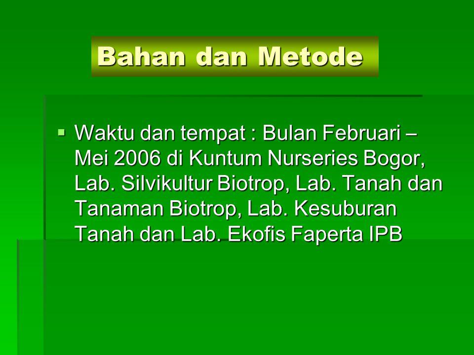 Bahan dan Metode  Waktu dan tempat : Bulan Februari – Mei 2006 di Kuntum Nurseries Bogor, Lab. Silvikultur Biotrop, Lab. Tanah dan Tanaman Biotrop, L