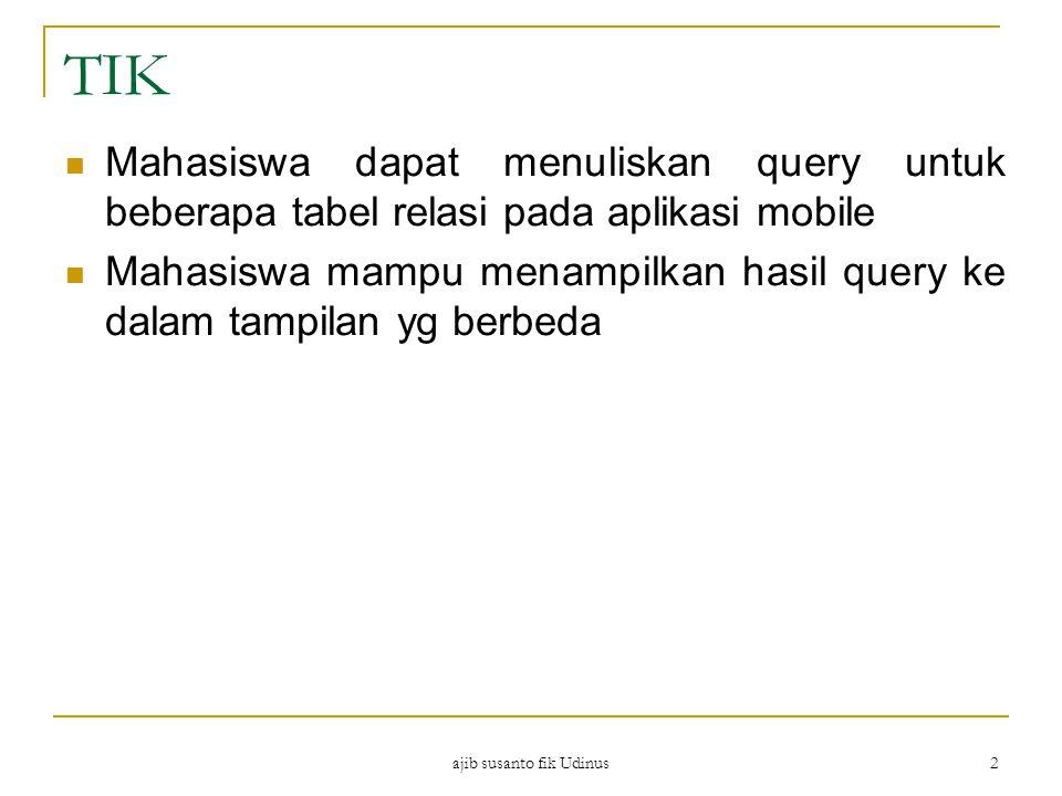 ajib susanto fik Udinus 2 TIK Mahasiswa dapat menuliskan query untuk beberapa tabel relasi pada aplikasi mobile Mahasiswa mampu menampilkan hasil quer