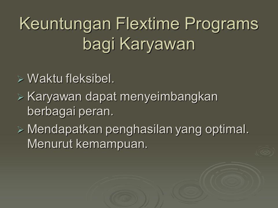 Keuntungan Flextime Programs bagi Karyawan  Waktu fleksibel.