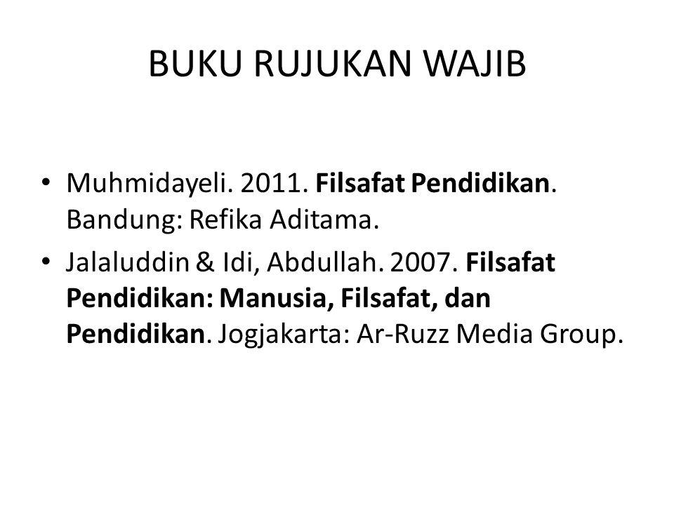 BUKU RUJUKAN WAJIB Muhmidayeli. 2011. Filsafat Pendidikan. Bandung: Refika Aditama. Jalaluddin & Idi, Abdullah. 2007. Filsafat Pendidikan: Manusia, Fi