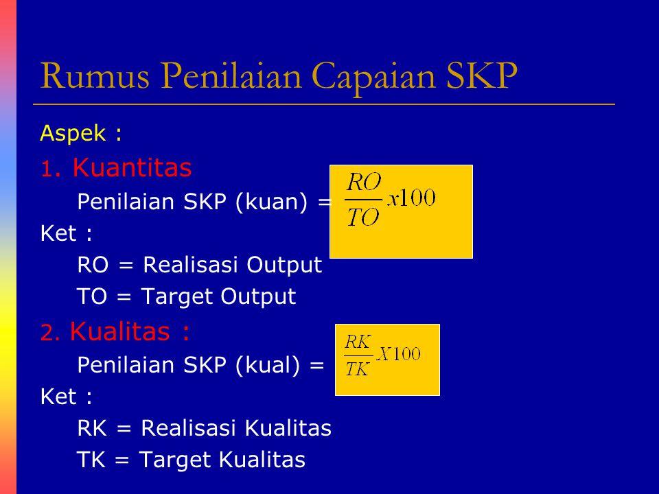 Rumus Penilaian Capaian SKP Aspek : 1. Kuantitas Penilaian SKP (kuan) = Ket : RO = Realisasi Output TO = Target Output 2. Kualitas : Penilaian SKP (ku