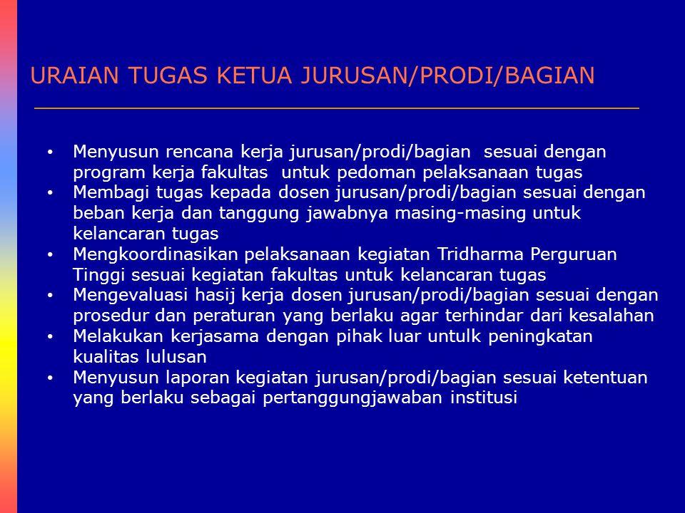 URAIAN TUGAS KETUA JURUSAN/PRODI/BAGIAN Menyusun rencana kerja jurusan/prodi/bagian sesuai dengan program kerja fakultas untuk pedoman pelaksanaan tug